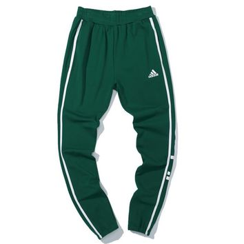 ADIDAS 2018 autumn and winter striped sports men and women casual pants Green
