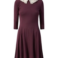 Burgundy Crochet Collar 1/2 Sleeve Swing Dress