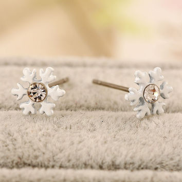 White Snow Flakes Shaped Earrings with Rhinestones