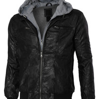 LE3NO Mens Faux Leather Zip Up Moto Jacket with Fleece Lining (CLEARANCE)