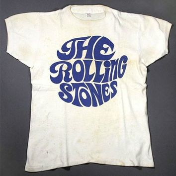 Hillbilly Vintage 70'S Rock The Rolling Stones T shirts Unisex Men Women Street Style Tops Summer Short Sleeved Casual White Tee