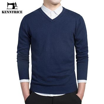 KENNTRICE Pullover Warm V-neck Formal Sweater Men Cashmere Fashion Pullovers Solid Long Sleeve Blue Winter Wool Basic Jumper