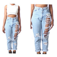 Women's pale blue denim pants ripped Jeans