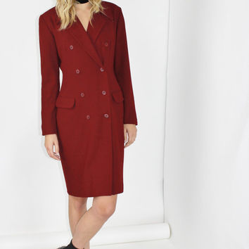 coat dress blazer dress red maroon wool midi dress double breasted long sleeve vintage 80s professional dress size 6 small sm s