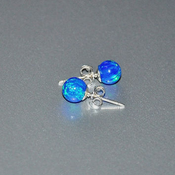 Pacific Blue Opal Earrings, 6mm Ball Stud Post earrings, Opal Earrings, Sterling Silver, Australian Opal, 925 Sterling Silver, Opal Jewelry