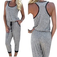 Jumpsuit Women Casual Sleeveless Backless Clubwear Playsuit Romper Calf-Length Pants Macacao Feminino Overall INY66
