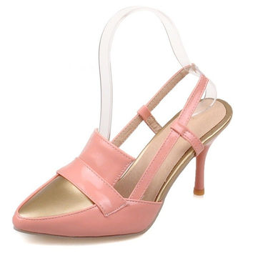black pink white apricot red Slingbacks Thin Heels pumps pu leather High-heeled shoes Pointed Toe women's shoes