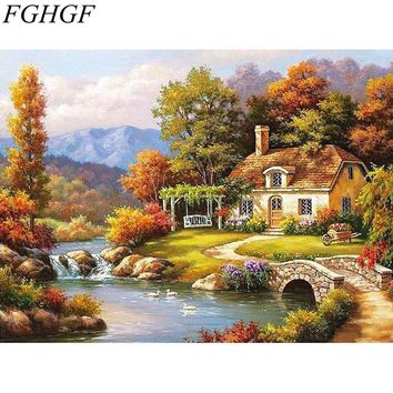 FGHGF Frameless Fairyland Landscape Wall Art Painting By Numbers Home Decoration Abstract Hand Painted DIY Paint By Number