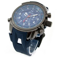Blue Geneva Watch W/ Round Heavy Case Hard Rubber Oversized Sport Men's