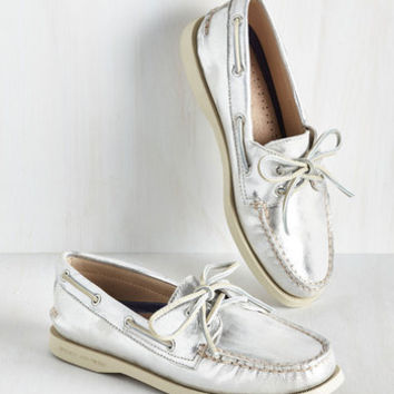 Dock Is Chic Loafer in Silver | Mod Retro Vintage Flats | ModCloth.com