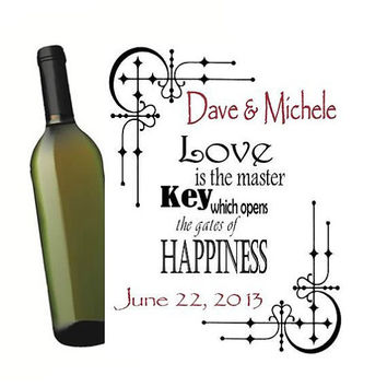 4 Customized Wine Bottle Labels Key to Happiness Personalized Wedding Wine Bottle Labels Anniversary Party Rehearsal Dinner
