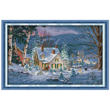 The Snowy Night of Christmas Counted Cross Stitch Sets scenery Cross Stitch 11CT 14CT Cross Stitch Kits Embroidery Needlework
