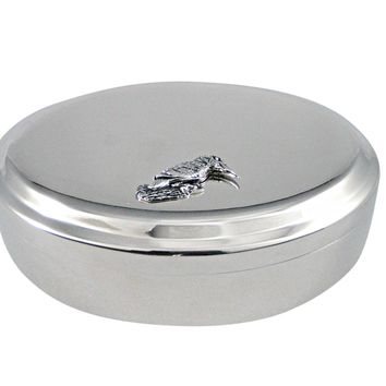 Silver Toned Kingfisher Bird Pendant Oval Trinket Jewelry Box