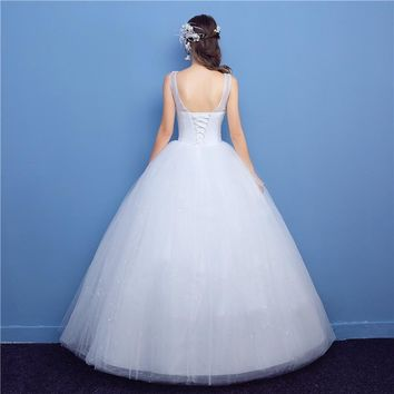 Wedding Dresses O-Neck Bride Dress Pregnant Sequined Lace Appliques Sleeveless