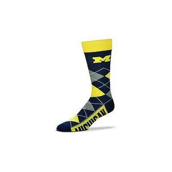 NCAA Michigan Wolverines Argyle Unisex Crew Cut Socks - One Size Fits Most