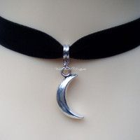 Black Velvet 16mm Choker/Necklace with Crescent Half Moon Pendant