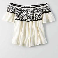 AEO Embroidered Off-The-Shoulder Top, White