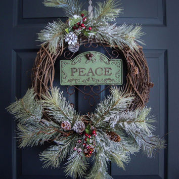 Rustic Christmas Wreaths - PEACE - Outdoor Holiday Wreath - Wreaths - Holiday Decorations - Wreaths for Door -  Outdoor Wreaths