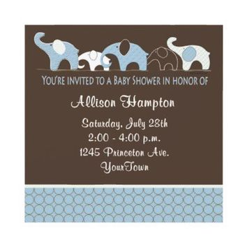 Blue with Brown Elephant Baby Shower Invitations from Zazzle.com