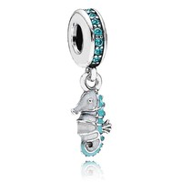 Pandora Tropical Seahorse with Teal CZ and Turquoise/White Enamel Dangle