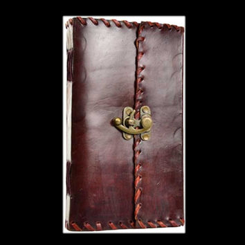 1842 Poetry Genuine Leather Blank Journal with Latch