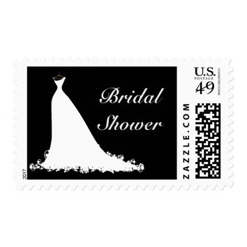 Elegant Wedding Gown Bridal Shower Stamp