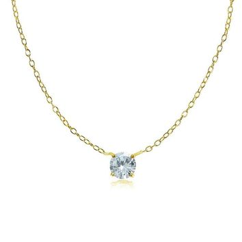 Dainty Round Aquamarine Choker Necklace in Gold Plated 925 Silver