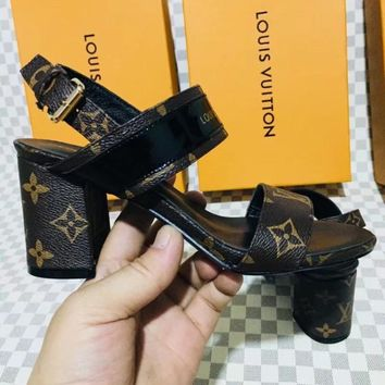 LV Louis Vuitton Summer Fashion Women Heels Shoes Sandals Coffee LV Print I-ALS-XZ