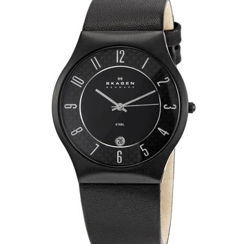 Skagen 233XXLBLBC Men's Denmark Black Dial Leather Strap Quartz Watch