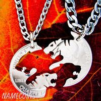 Tiger Necklace, couples jewelry, friendship necklaces, hand cut coin.
