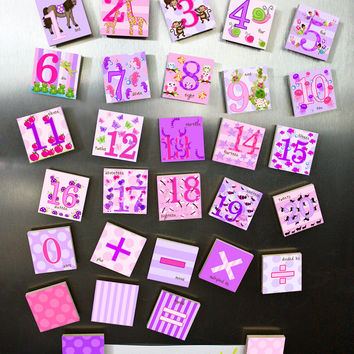 Girls Pink and Purple Animal Number Magnets Learn Your 123's MG0007