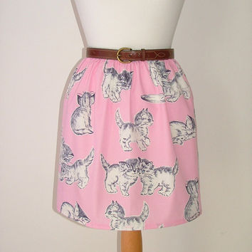 Handmade high waisted skirt made with cats kitten cat fabric pastel pink