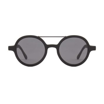 Komono - Vivien Metal Series Black Sunglasses / Polycarbonate Solid Smoke Lenses