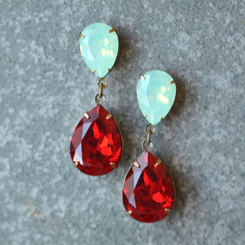 Mint Green Opal Ruby Earrings Swarovski Crystal Minty Opal Ruby Red Earrings Rhinestone Post Dangle DropEarrings Duchess Hourglass Mashugana