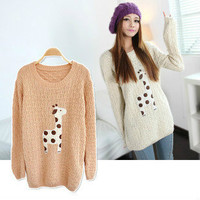 Lovely Dots Giraffe Pullover Sweater 6