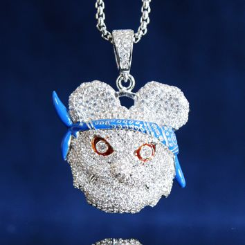 Men's Iced Out Panda with Blue Bandana Pendant Chain