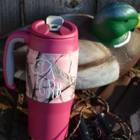 Pink Camo Travel Mug Tumbler with Monogram ~ Coffee Cup ~ Realtree ~ Custom Design ~ Monogrammed ~ Initials ~ Camoflauge