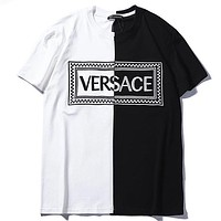 Versace 2019 new embroidered logo thin section breathable men's short-sleeved T-shirt White/black
