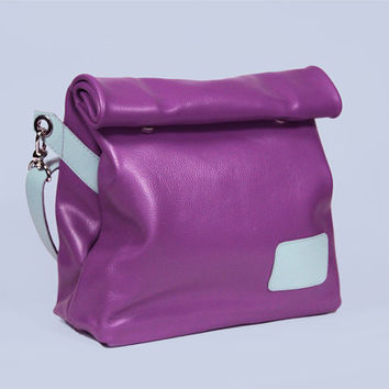 "High Quality Handmade Italian Leather Bag ""Chandler Lee"" / Purple Handbag / Purple Lunchbag / Purple Shoulder bag"