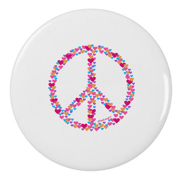 "Peace Sign Hearts 2.25"" Round Pin Button"