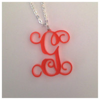 Single Initial Vine Monogram Necklace - Custom Made Laser Cut Acrylic Jewelry - Must Have Accessory - 32 Color Choices