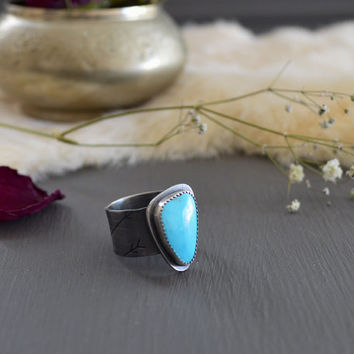 Natural Morenci Mine Turquoise & Sterling Silver Ring / Rare Blue Turquoise / Boho Jewelry / Crescent Moon Arrow Stamps / Fits US Size 8 1/4