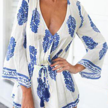 White and Blue Floral Print V-Neckline Flare Sleeved Romper
