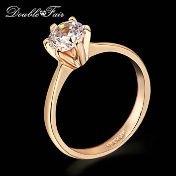 Simple Style Engagement Ring. Silver/Rose Gold Color. FREE Shipping.