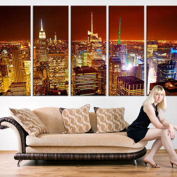 Large Canvas Print - Manhattan New York at Night Panorama, Large Wall Art New York Art Reflections, New York City Streched Canvas,