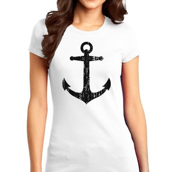 Distressed Nautical Sailor Anchor Juniors T-Shirt