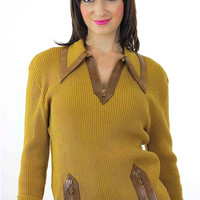 Mustard Sweater retro Ribbed Vintage 70s zip up Pullover Wool Grunge leather chunky zipper long sleeve Tunic top Medium
