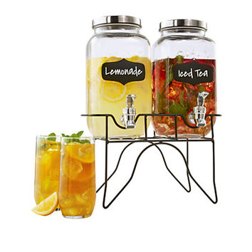 "TJ Riley & Co. Double Mason Jar Dispenser Set, 10 1/4""H x 6""W x 12""D, Clear Item # 379169"