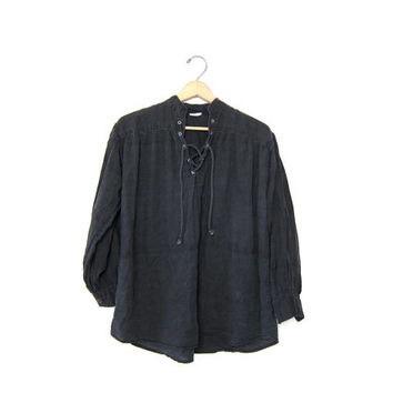 Vintage Black Smock Shirt. Henley Lace Up Top. Faded Black Distressed THIN COTTON Blouse ARIST Smock Shirt Slouchy Boho Peasant Blouse S M L