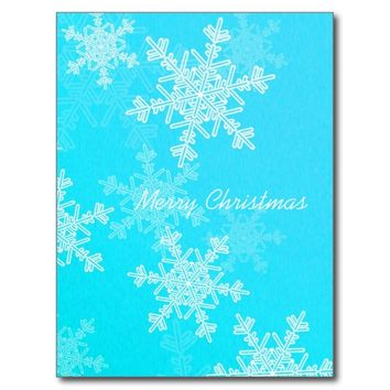Girly blue and white Christmas snowflakes Postcard